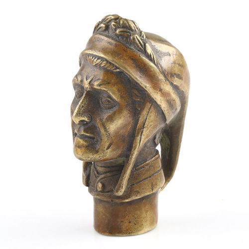 poet Dante Statue Walking Stick Head Statues Old Bronze Hand Carved