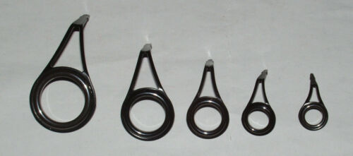 5 PACIFIC BAY BLACK ALUM OXIDE SINGLE FOOT SPINNING GUIDES ROD BUILDING REPAIR