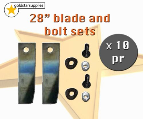 10 X BLADE KITS FOR 28 INCH COX RIDE ON MOWER 20 X BLADES AND BOLTS SKIT33