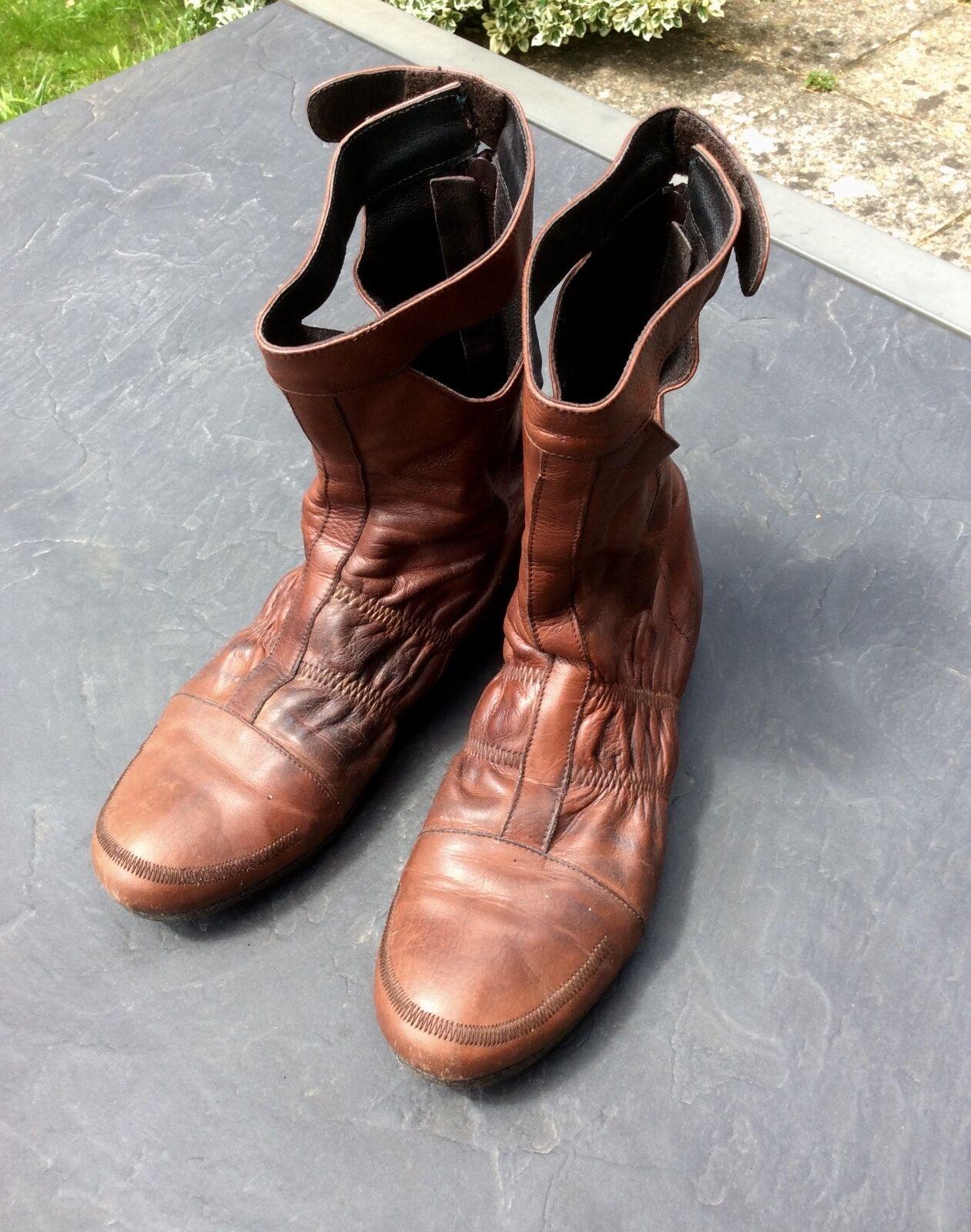 Original designer leather slouchy booties 38 UK5