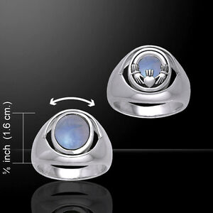 Crescent Moon Ring Véritable Argent Sterling 925 Poli Bijoux face HAUTEUR 7 mm