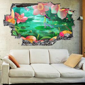 Kids Flowers Fantasy Fairy World Childrens 3D Wall Mural Bedroom