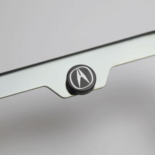 Laser Etched Black Aluminum Acura License Plate Frame Bolts Fastener Screws Cap