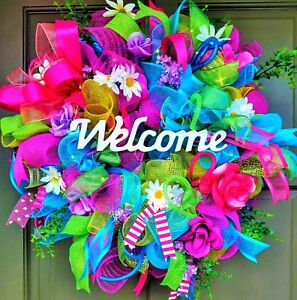 Handmade-LED-Lit-Spring-Summer-Deco-Mesh-Wreath-Light-Up-Floral-Wall-Door-Decor