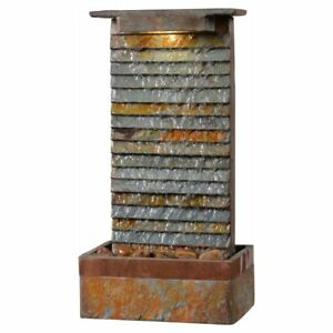 Details About Unique Waterfall Slate Water Fountain Indoor Floor Table Lighted Home Decor S