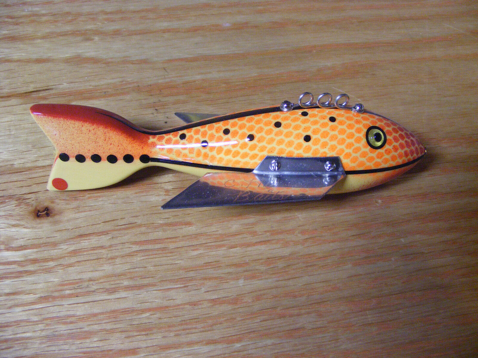 C Hines Heddon Style Bat Wing Fish Decoy in orange Scales 5