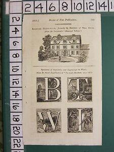 1813 Datierter Antik London Aufdruck ~Sandford Manor-House~ Gravuren auf Holz