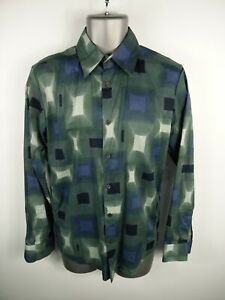 MENS-REISS-GREEN-WHITE-BLUE-PATTERNED-BUTTON-UP-LONG-SLEEVED-SMART-SHIRT-S-SMALL