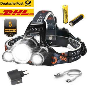 80000lm SuperHell Cree 3x LED Stirnlampe USB Kopflampe Scheinwerfer Taschenlampe