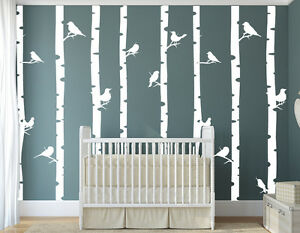 wandaufkleber wald b ume v gel kinderzimmer birke natur babyzimmer wandtattoo ebay. Black Bedroom Furniture Sets. Home Design Ideas