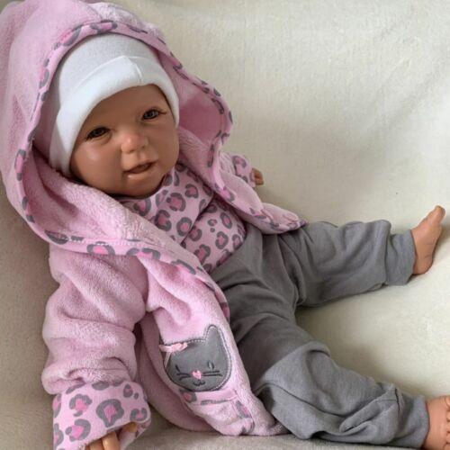 tlg Body Hose NEU Baby Mädchen Set 3 Jäckchen Gr 62 68 74 rosa grau Kätzchen