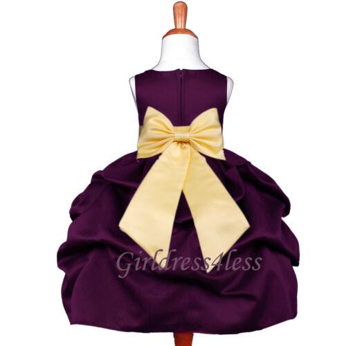 Bridesmaid Party Princess Dress Plum Dark Purple Pick Up Wedding Flower Girl Jr