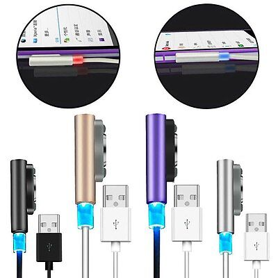 3FT / 6FT Aluminum Magnetic Charging LED Cable For Sony Xperia Z1 Z2 Z3 Compact