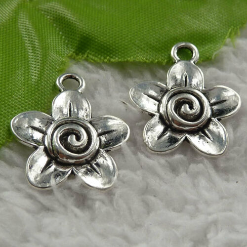 Free ship 160 pieces tibet silver flower charms 23x19mm B4049
