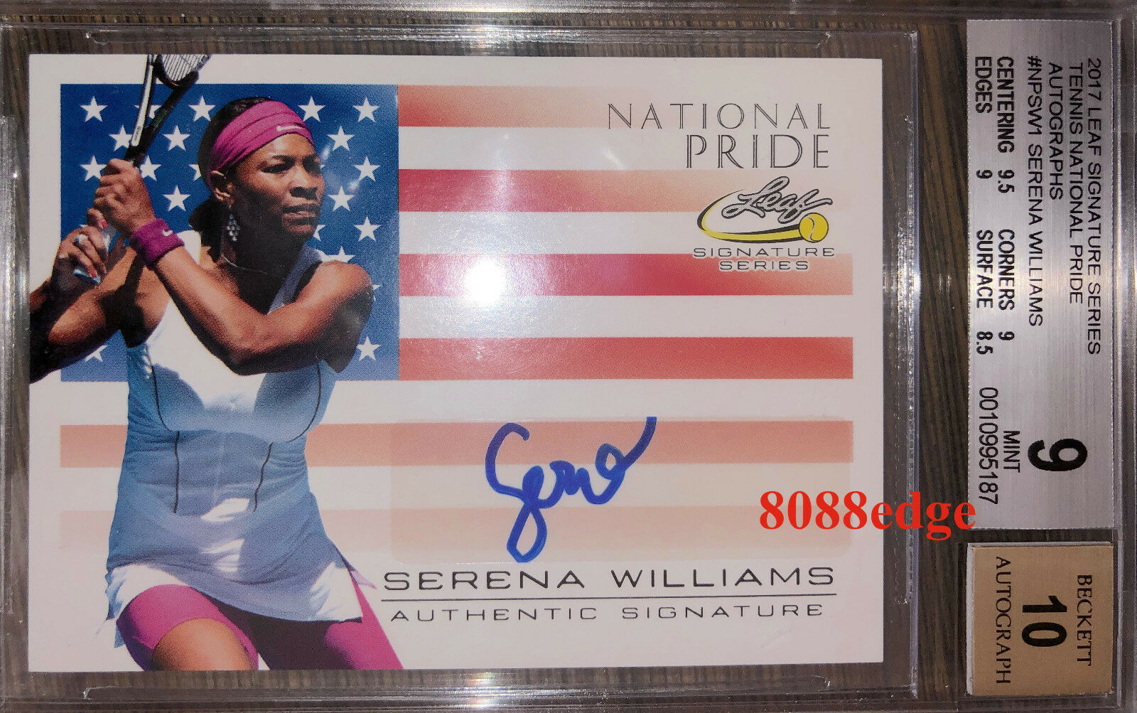 2017 LEAF NATIONAL PRIDE AUTO  SERENA WILLIAMS -  GOAT  BGS 9 MINT AUTOGRAPH 10