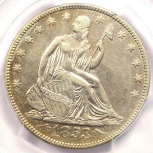 1853-Arrows-amp-Rays-Seated-Liberty-Half-Dollar-50C-Certified-PCGS-XF45-EF45