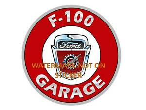 VINTAGE FORD F-100 GARAGE  DECAL STICKER LABEL LARGE DIA 240 MM HOT ROD
