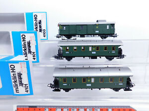 CQ780-0-5-3x-Maerklin-H0-AC-Gepaeck-Personenwagen-DR-4101-4103-sehr-gut-OVP