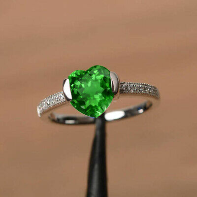 Round Cut 14KT White Gold 1.20Ct Natural Green Emerald Solitaire Women/'s Ring