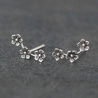 Solid 925 Sterling Silver Triple 3 Flowers Line Wave Post Girls Stud Earrings