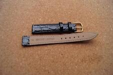 BLACK  Real Leather CROC GRAIN WATCH STRAP WITH  GOLD BUCKLE 14MM