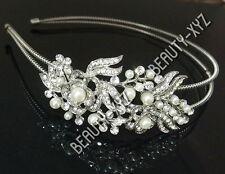 Bridal Wedding Jewelry Crystal Rhinestone Pearl Duo Flowers headband Silver