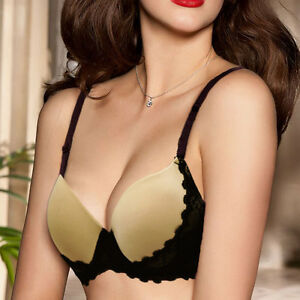 7e7fd19c41f Details about Womens Underwear Lace Thick Padded Plunge Extreme Push Up Bra  32-40 A B C D Cup