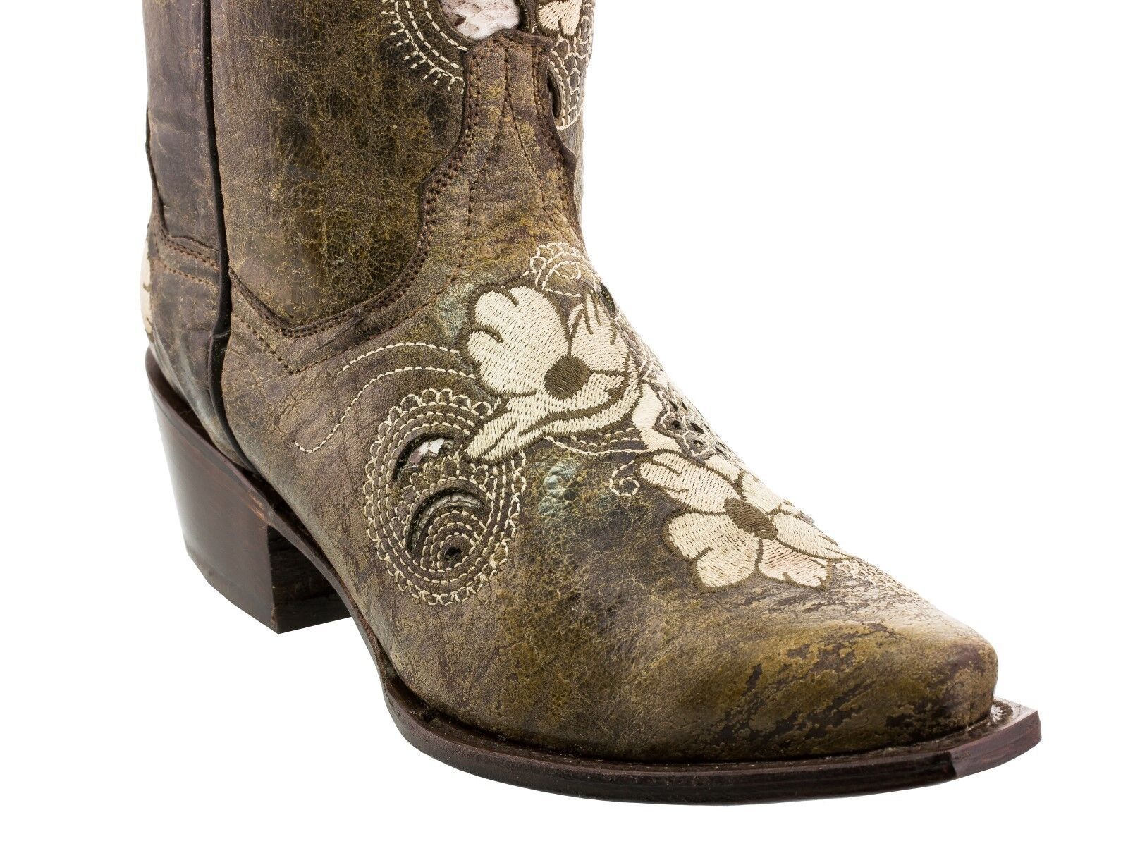 Womens Womens Womens Brown Flower Embroidery Distressed Western Leather Cowgirl Boots Snip Toe 6fb97d