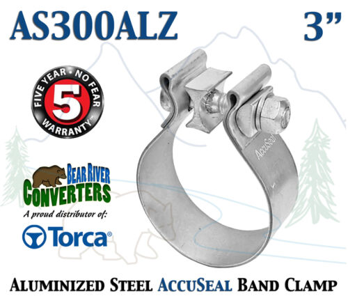 """AS300ALZ 3/"""" Genuine Torca AccuSeal Aluminized Steel Narrow Band Exhaust Clamp"""