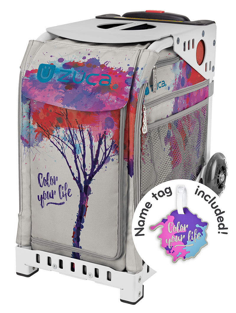 ZUCA Bag COLOR YOUR LIFE Insert & White Frame w Flashing Wheels - FREE CUSHION