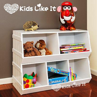 NEW 2 PCS SET Stackable WHITE WOODEN KIDS Children's TOY STORAGE UNIT SHELF BOX