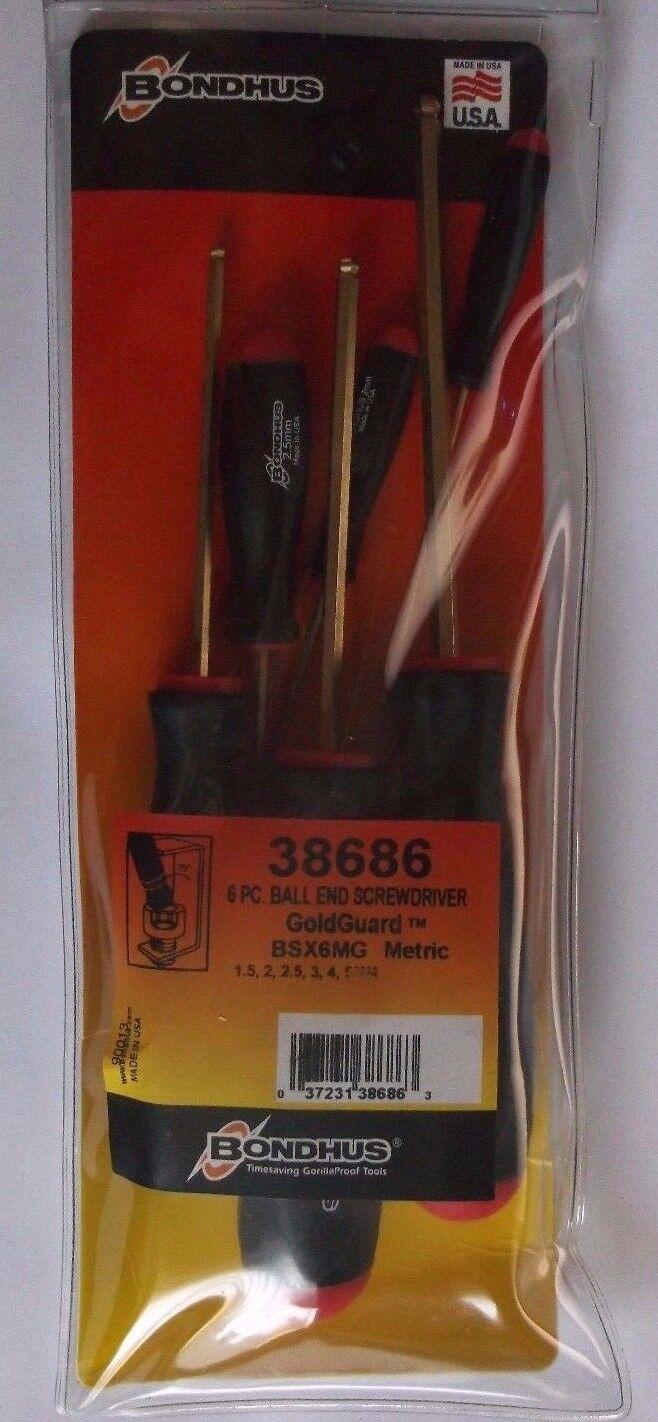 Bondhus 6 piece Screwdriver Hex Gold Ball End Key Set BSX6MG 38686