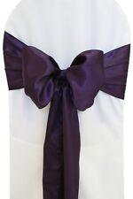 "100 Eggplant Satin Chair Cover Sash Bows 6"" x 108"" Banquet Wedding Made in USA"