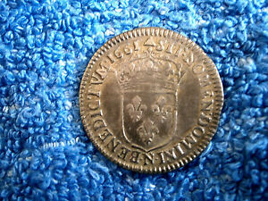 FRANCE: VERY RARE GRADE LOUIS XIIII SILVER 1/12 ECU 1661-N ABOUT UNCIRCULATED
