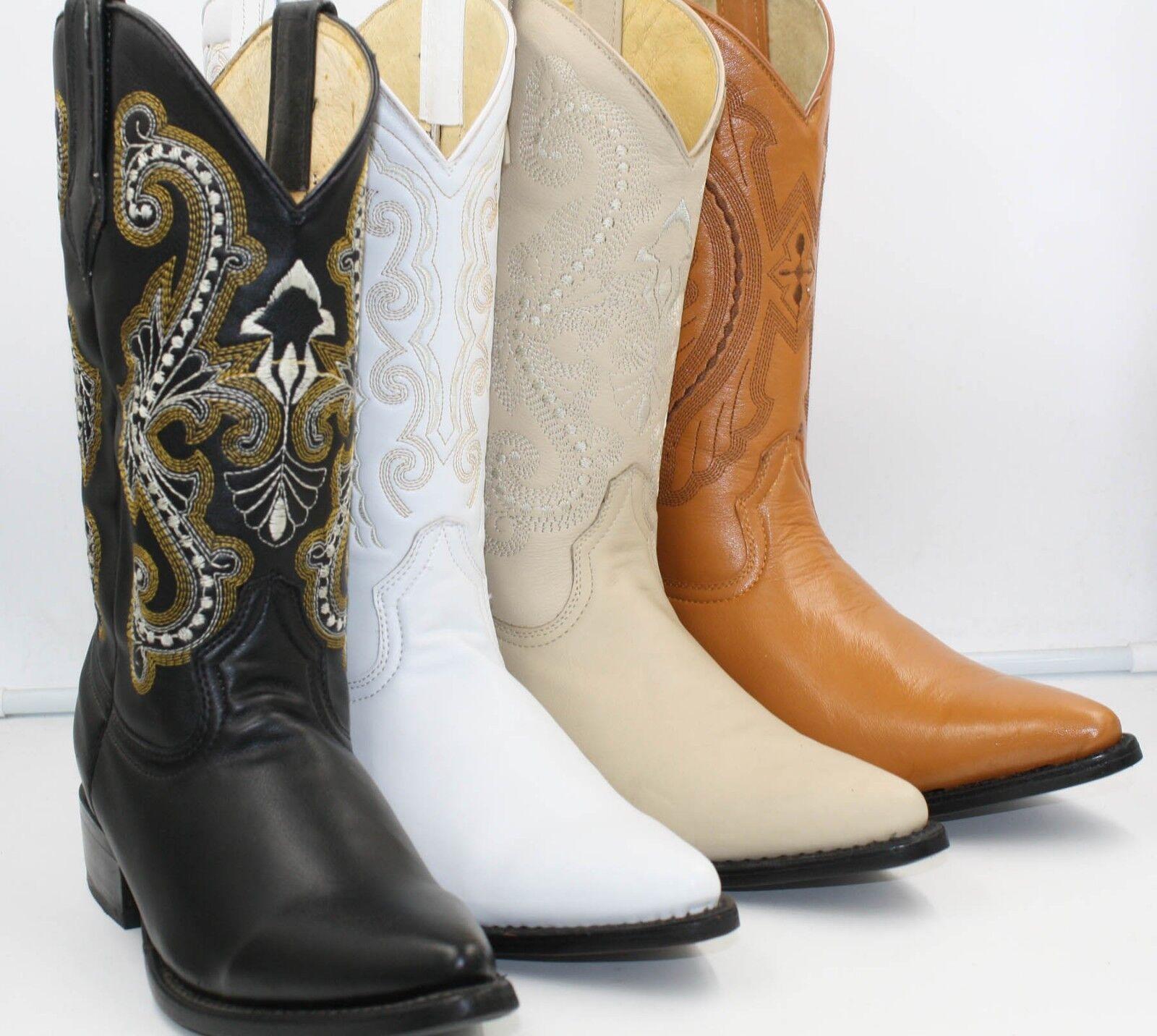 Para hombres Cuero Genuino Western Cowboy J Toe botas Liso
