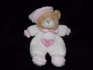 KEEL-WHITE-BEAR-SOFT-TOY-PINK-BABY-GIRL-TEDDY-COMFORTER-DOUDOU