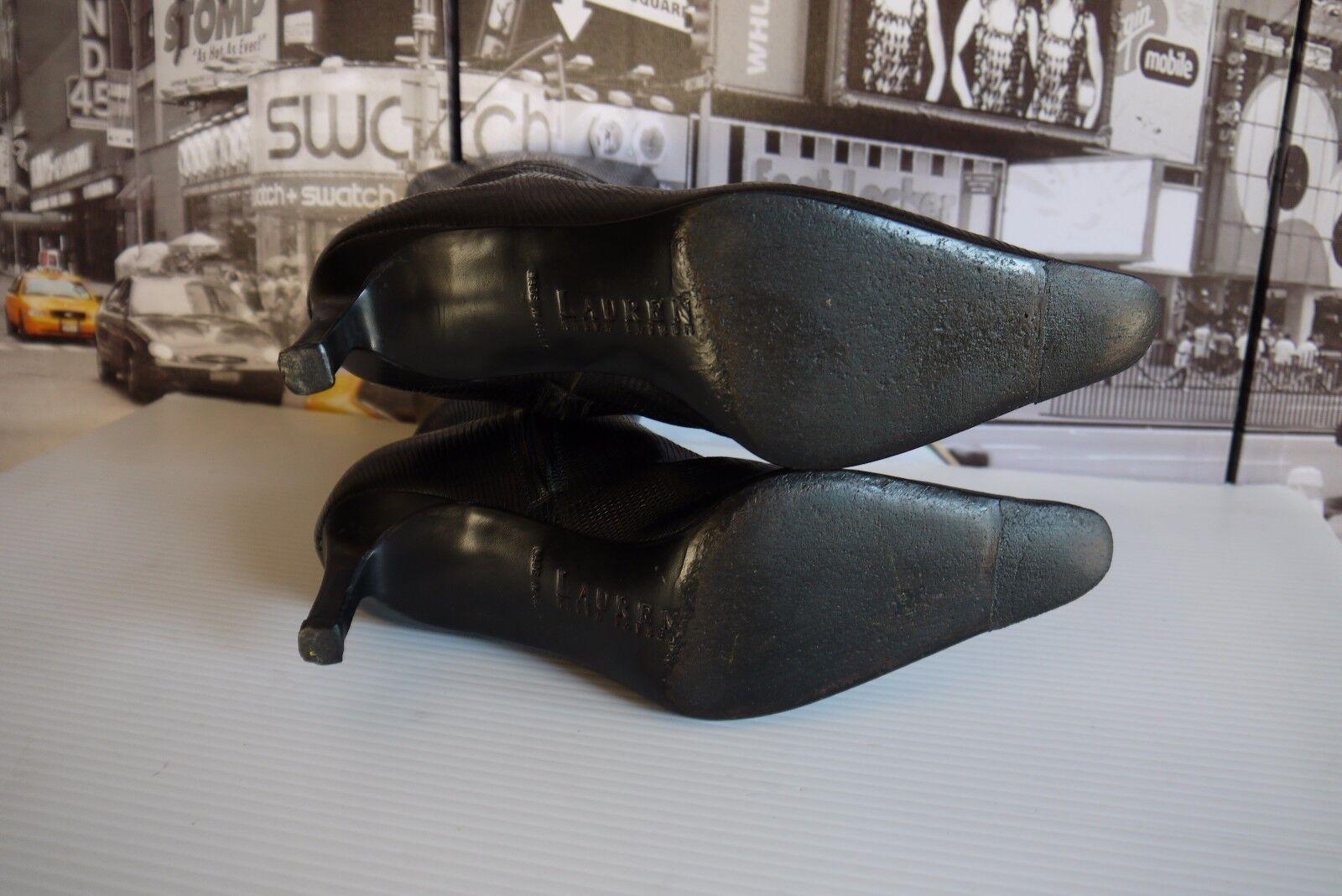 POLO RALPH LEATHER LAUREN Stiefel SNAKESKIN 8 B Damenschuhe schwarz LEATHER RALPH LIZARD ANKLE ITALY 34a473