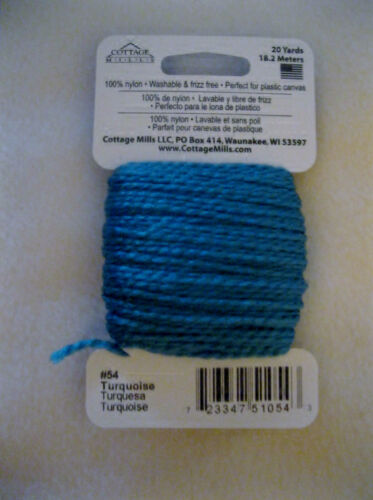 NEEDLOFT CRAFT YARN TURQUOISE #54 for PLASTIC CANVAS by COTTAGE MILLS