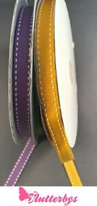 Stitched-edge-Grosgrain-Ribbon-12mm-x-5-metres-yellow-or-lilac