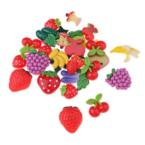 30 Stück sortierte Früchte Kawaii Harz Flatback Cabochons Decoden flache