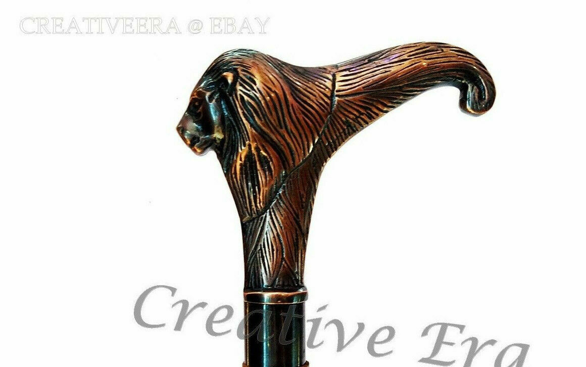Vintage Style Solid Copper Brass Lion Head Handle For Walking Stick Canes Shaft