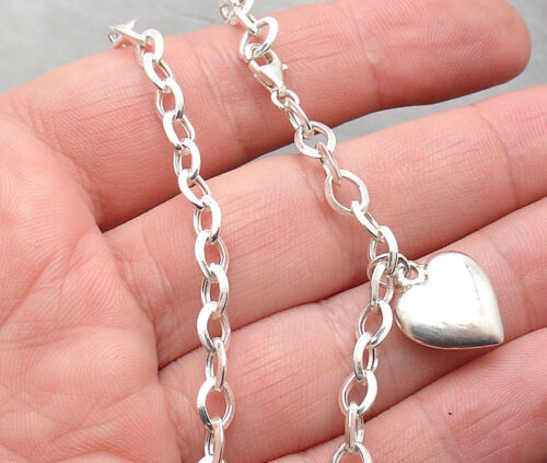 Puffed Heart Tag Charm Oval Link Ankle Bracelet Anklet Real 925 Sterling Silver