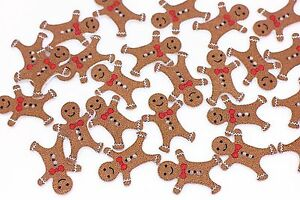 Gingerbread Men Buttons Christmas Buttons Shank Ginger Colour Pks  5 10 or 20