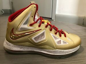 9a5912ba684a74 NEW NIKE LEBRON X 10 RING CEREMONY Size 11 PROMO SAMPLE GOLD PE ...
