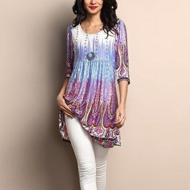 Plus Size Women Pullover Blouse Gypsy Baggy Tee Long Sleeve Tunic Tops Lot S-5XL
