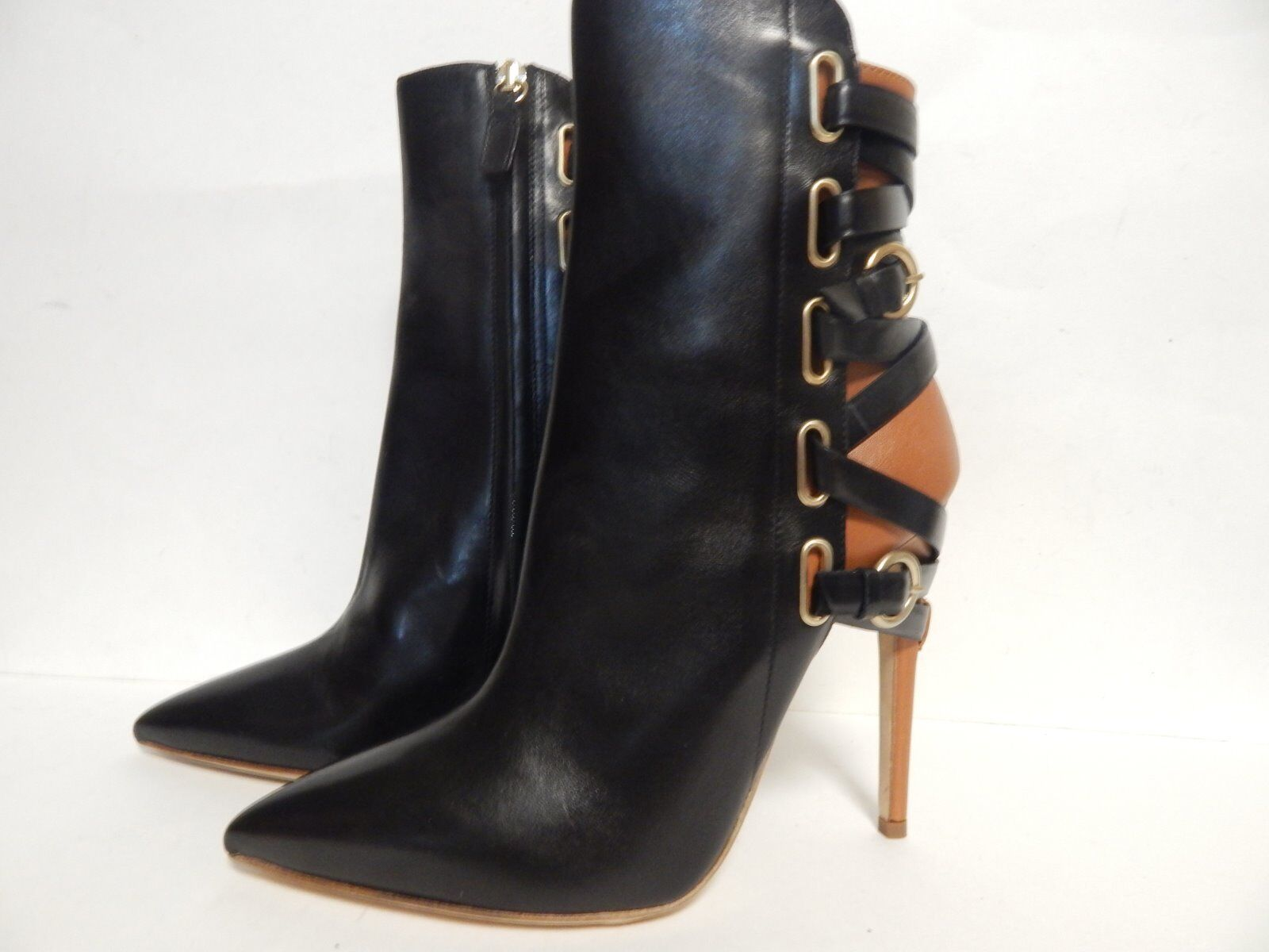 Jerome C. Rousseau Jiro Pointed Toe Ankle Boot Black Calf  New with Box