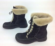 Women's Bare Traps Black Leather LaceUp Lining Moc Toe Ankle Winter Boots Sz.9