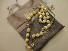 Authentic Givenchy Cream Faux Pearls And Swarovski Crystals Necklace, New!