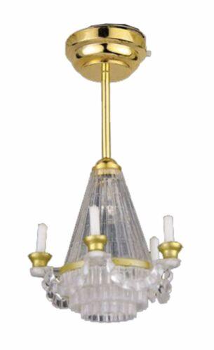 1//12TH scala casa delle bambole Lampadina LED Singolo da Appendere Lampadario con batteria