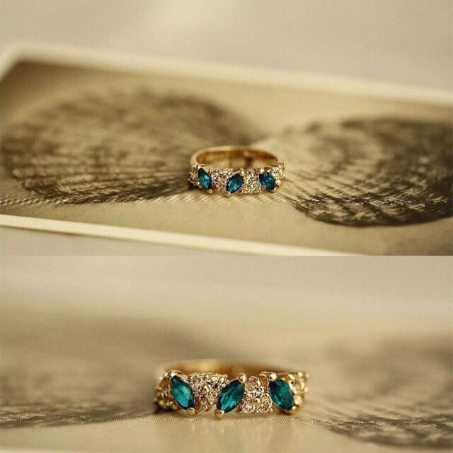 Shiny Dazzing Vintage Finger Ring Rhinestone Emerald Crystal